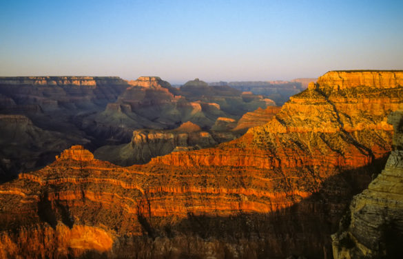Photograph of the Grand Canyon in early evening light