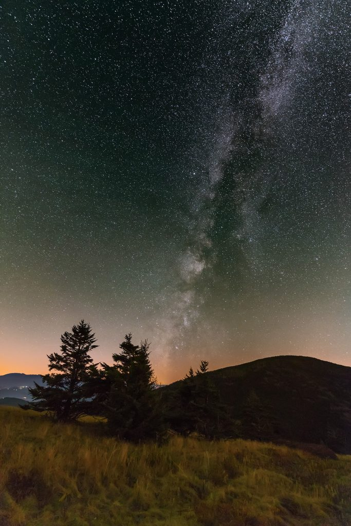 A photograph of the Milky Way as seen in the Roan Highlands